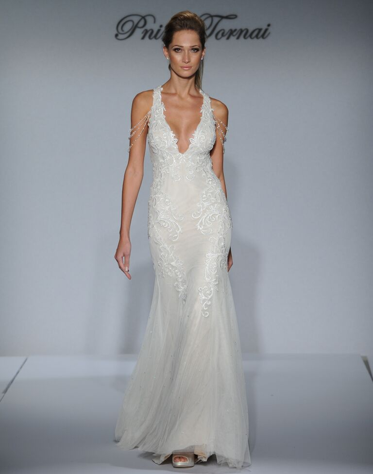 Pnina Tornai Trumpet Wedding Dress With Embroidery Deep V Neckline And Beaded Off