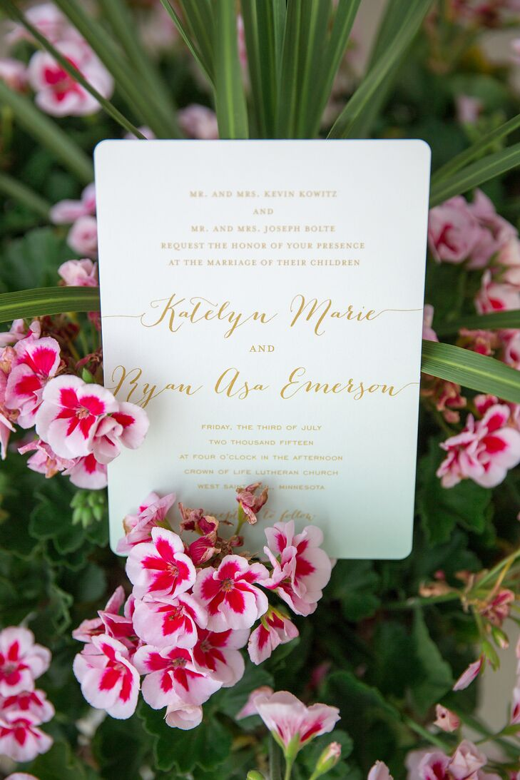 The couple designed their invitations on Minted.com.
