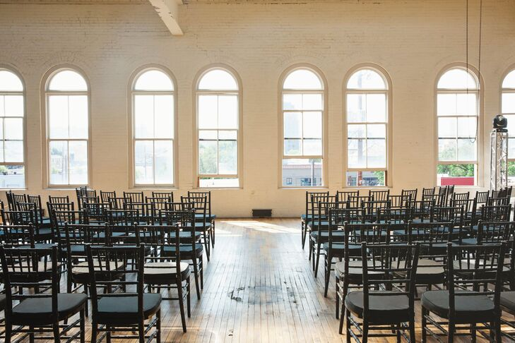 """""""We chose a venue called Yale Union, which is an industrial space that has been converted for events,"""" says Jason B. """"It's tall ceiling and white walls with large windows really appealed to us."""""""