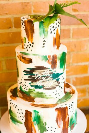 Abstract, Hand-Painted, Earth-Tone Wedding Cake with Fondant