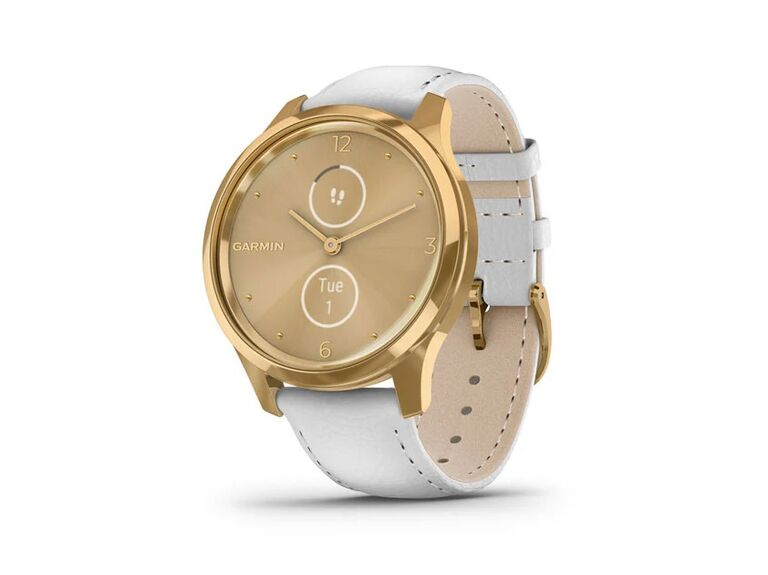 Luxury smartwatch with 24k gold case and premium white leather band