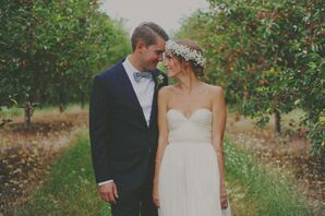 Bohemian Bride with Baby's Breath Flower Crown