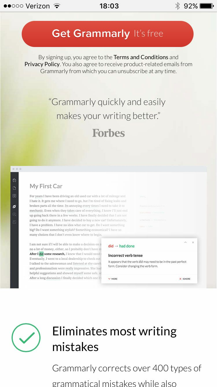 Grammarly wedding app screenshot