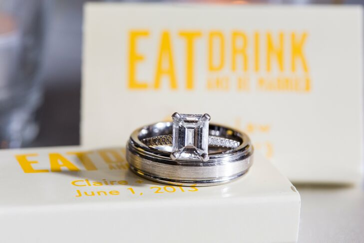 Law proposed with a gorgeous, emerald-cut diamond engagement ring while he and Claire were on a hike near Pepperdine University (her alma mater).