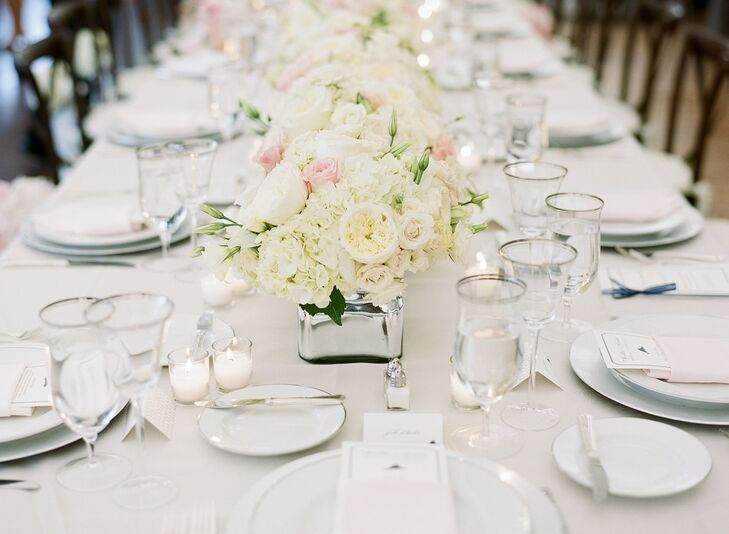 Ivory and Blush Rose Centerpieces