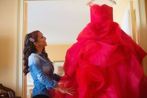 Luxurious Strapless Red Vera Wang Ball Gown