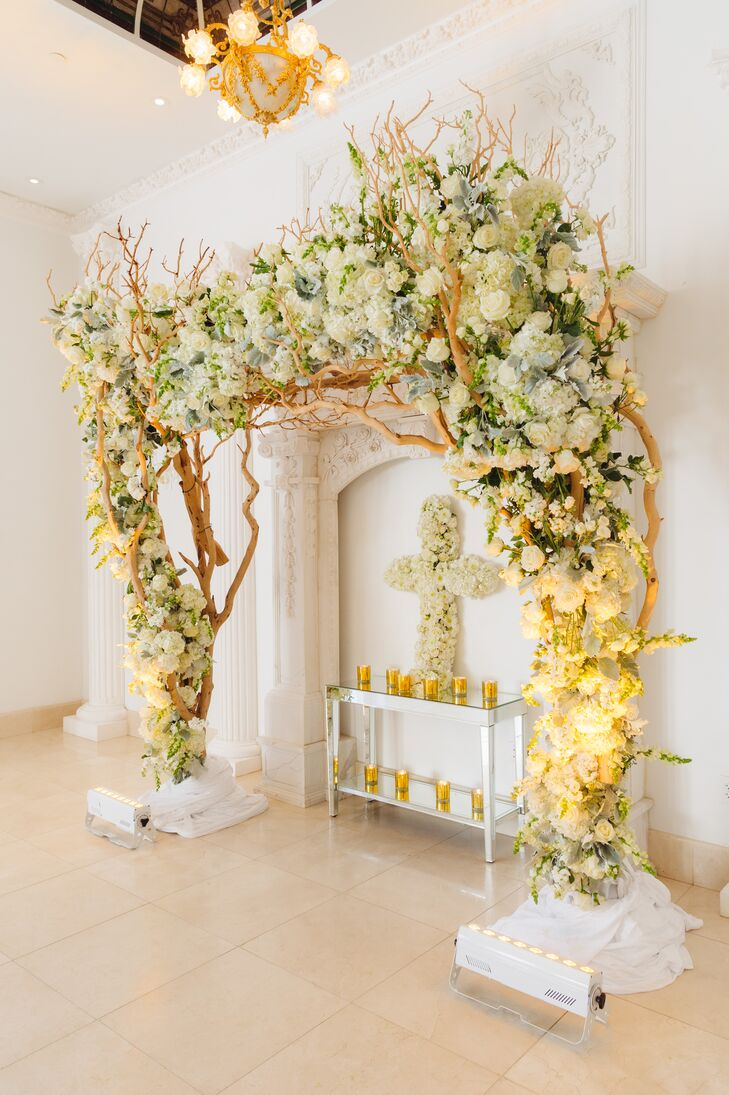 Ornate Ivory Hydrangea and Rose Wedding Arch