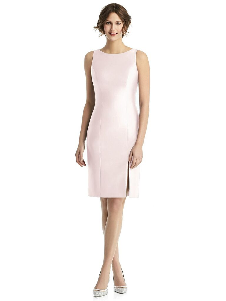 Short boat neckline pink bridesmaid dress