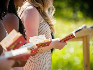 Bridal party reads children's book excerpts at ceremony