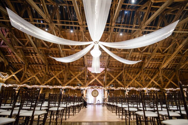 White Linen Draped Ceremony at The Fair Barn