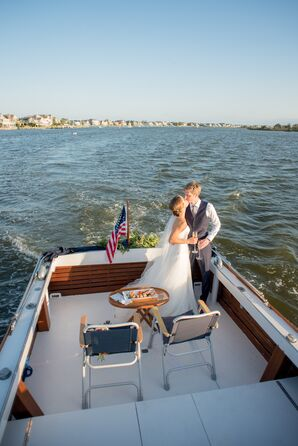 Newlyweds Exiting Ceremony on Vintage Boat