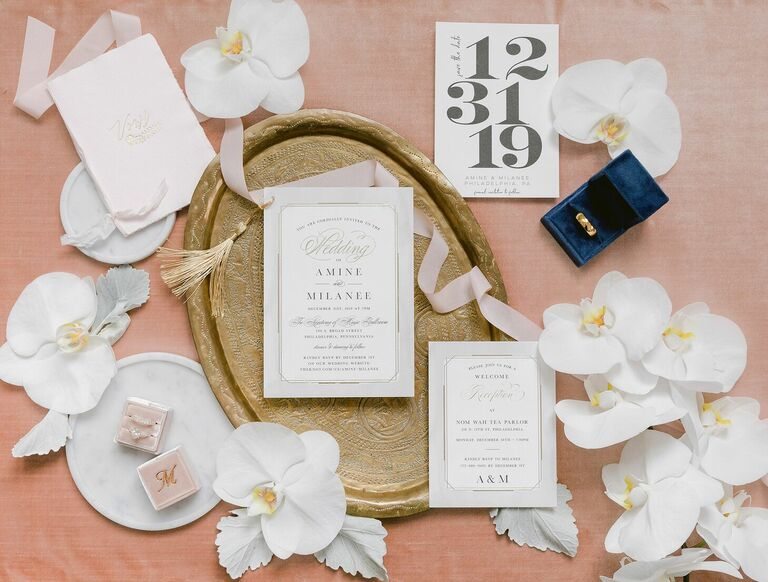 Romantic white wedding invitation suite
