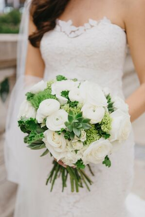 Simple Round, White Bouquet With Roses and Peonies