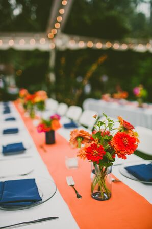Orange and Blue Reception Decor