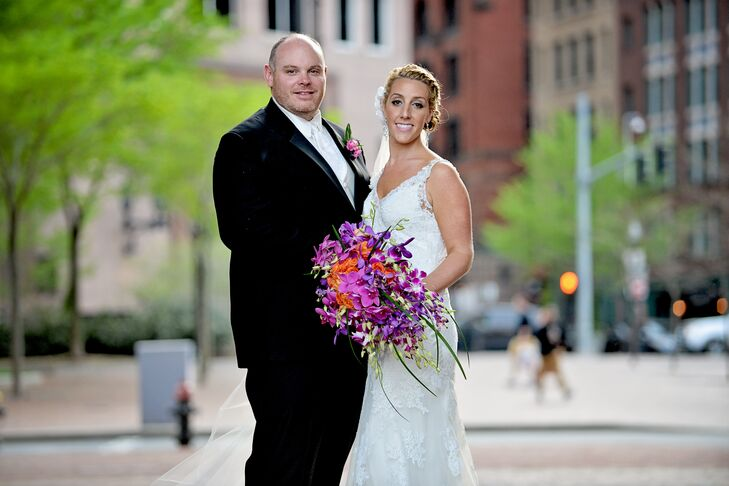 With the help of Tangorra Wedding Planning, Ashley and Matthew Pisapia planned a modern wedding at the Boston Harbor Hotel with a bright color palette