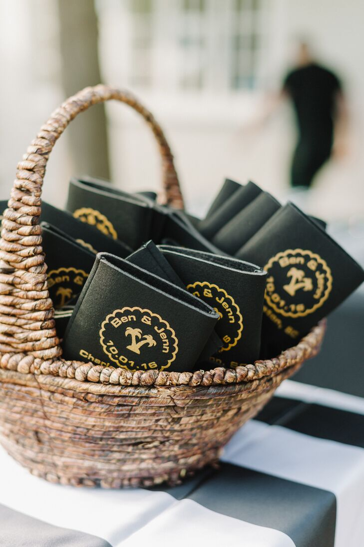 """Jennifer and Bejamin handed out personalized koozies to guests as favors. """"We got customized koozies with our names, the date and the location of our wedding,"""" Jennifer says."""