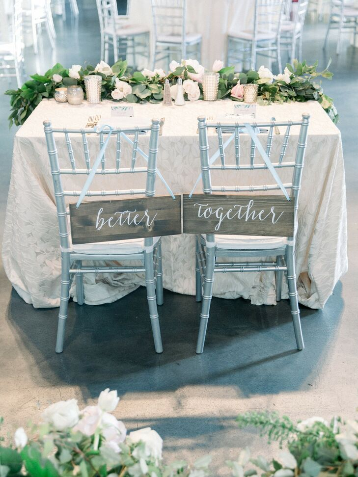Chair Signs at Industrial Chic Wedding in Downtown Minneapolis
