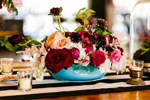 Bright Floral Centerpiece in Whimsical Vintage Vase
