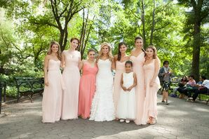 Floor-Length Blush Amsale Bridesmaid Dresses
