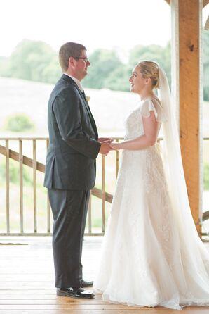 David's Bridal Lace A-Line Gown