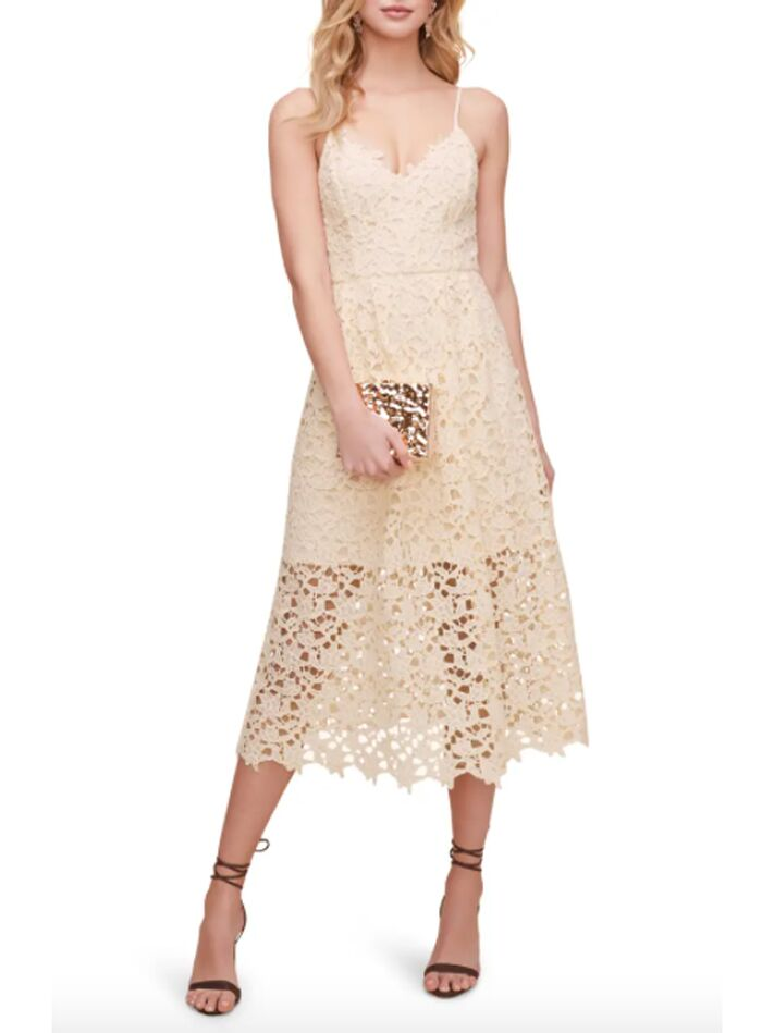 Cream lace midi dress
