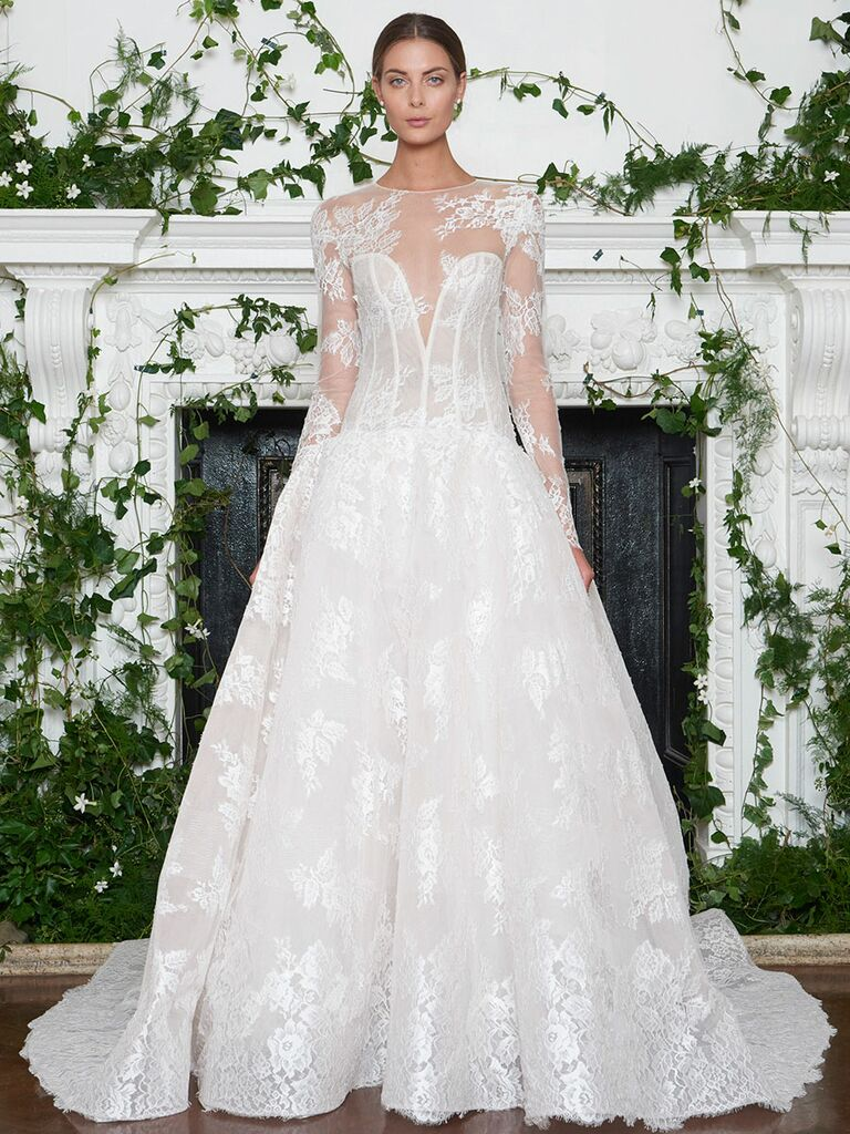 Monique Lhuillier Fall 2018 Chantilly lace illusion neckline drop waist ball gown wedding dress with detachable long sleeves