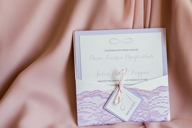 Dana and Jay's invitations featured a lavender border and an infinity motif. The pocket envelopes were decorated with purple lace.