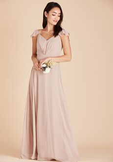 Birdy Grey Kae Bridesmaid Dress in Taupe V-Neck Bridesmaid Dress