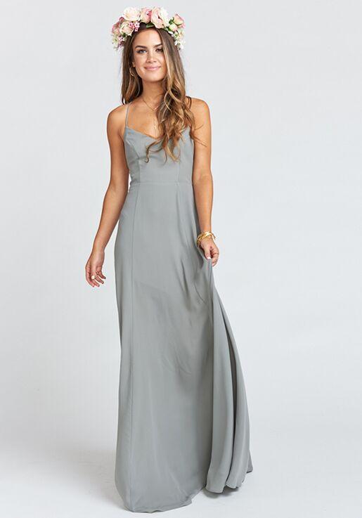 cc94d487152e3 Show Me Your Mumu Godshaw Goddess Gown - Soft Charcoal Crisp V-Neck  Bridesmaid Dress