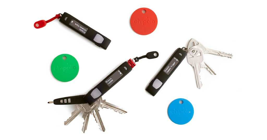 keys and chipolo colorful bluetooth chips