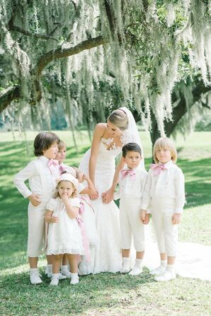 Cream-Clad Ring Bearers and Flower Girls
