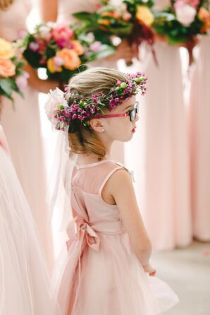 Flower Girl in Pink Chiffon Dress with Pink Flower Crown