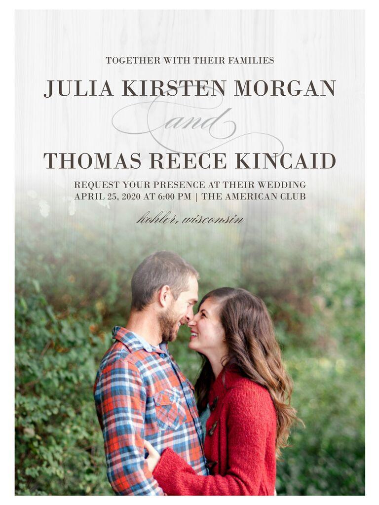 Photo fall wedding invitation