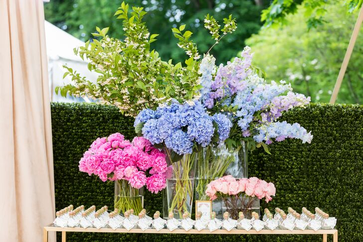Bright Hydrangeas on Escort Card Table