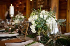 Rustic Green and Ivory Centerpieces