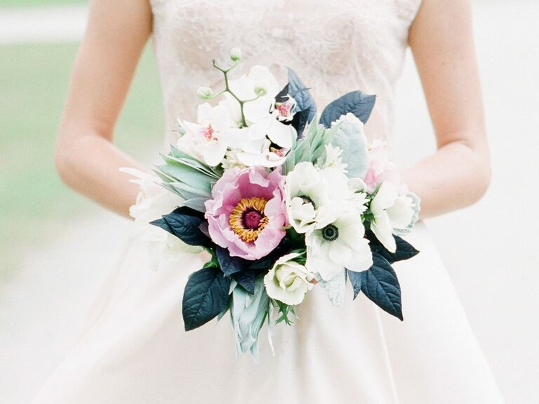 Organic green and pink bridal bouquet