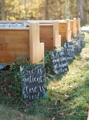 Aisle Decorations with Chalkboard Signs and Calligraphy