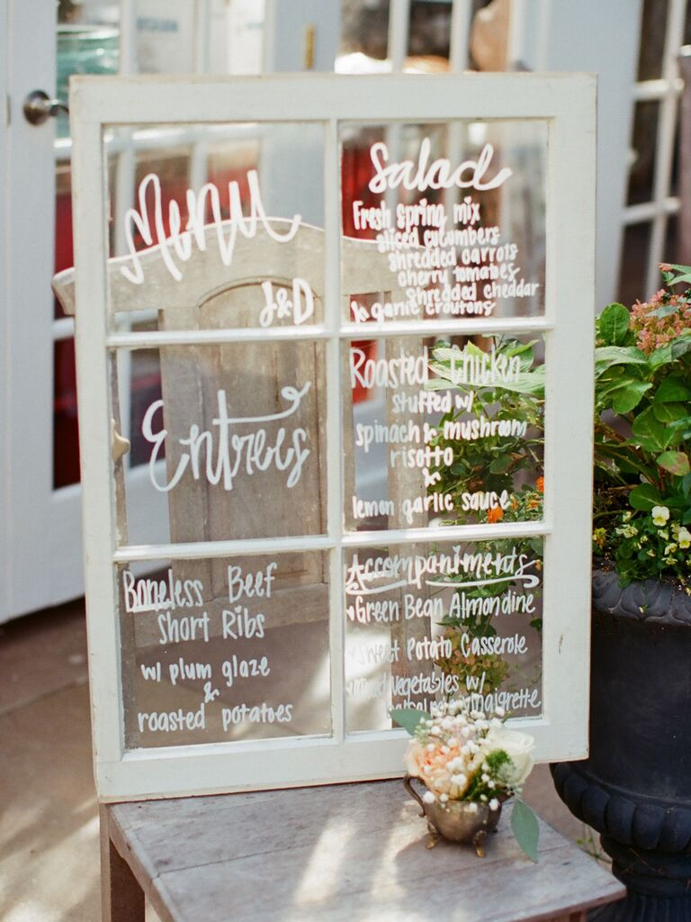 Vintage-Style White Window Frame creative wedding menu display idea