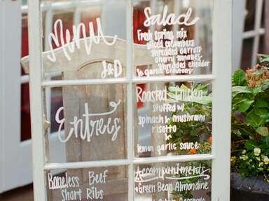 Vintage-Style White Window Frame creative wedding menu display idea