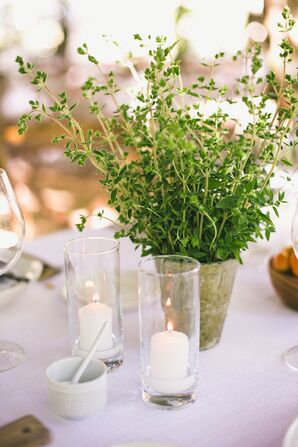 Rustic Bucket Centerpieces with Herbs and Candles