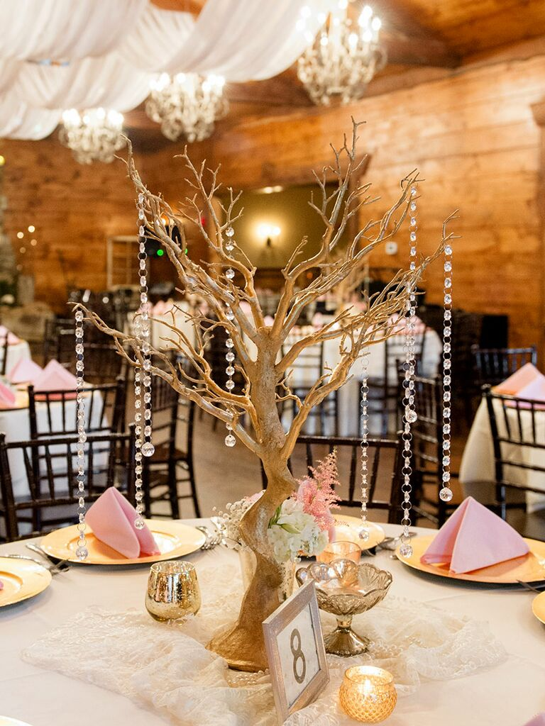 Glamorous tree centerpiece with crystals
