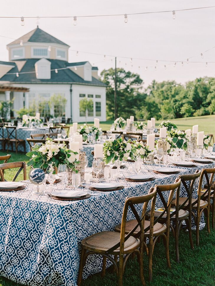 Elegant Alfresco Reception with Blue, White and Green Tablescapes