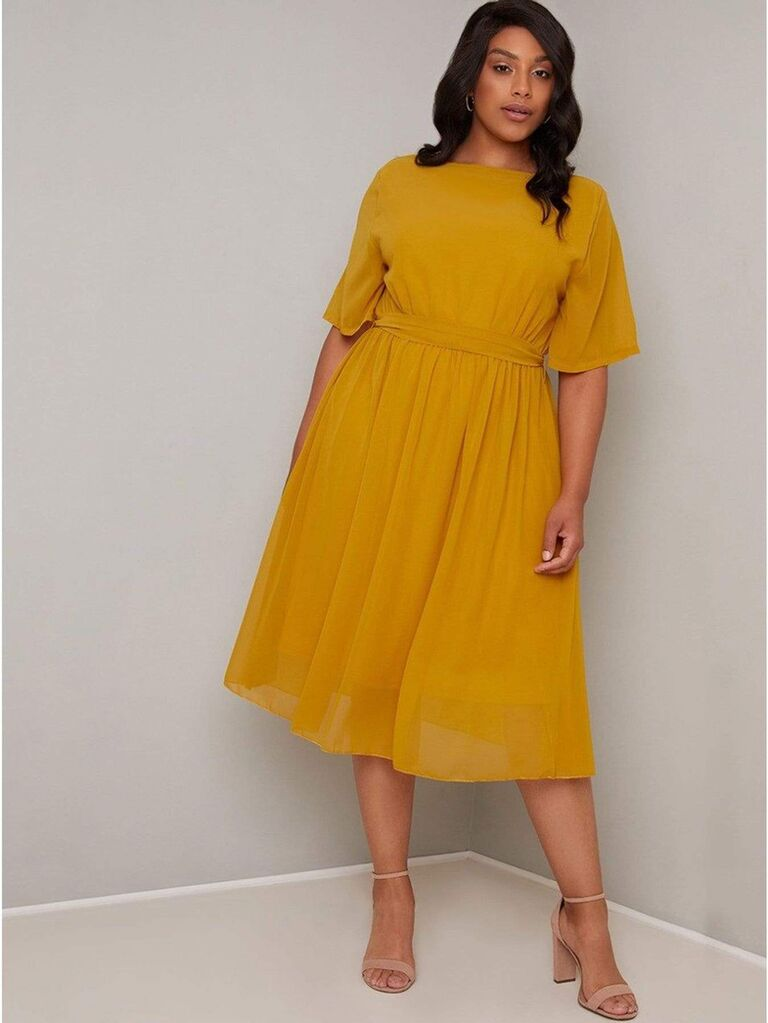 Burnt yellow midi dress with belted waist and loose short sleeves