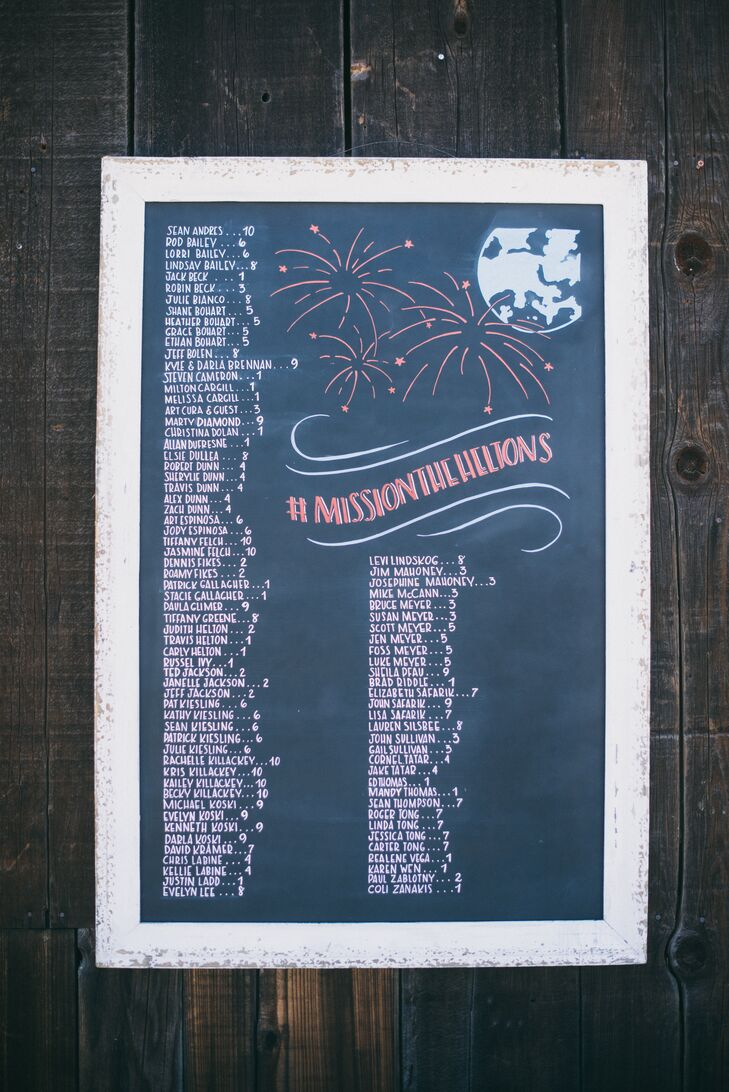 A chalkboard seating chart included drawings of fireworks and the moon alongside the wedding's official hashtag.