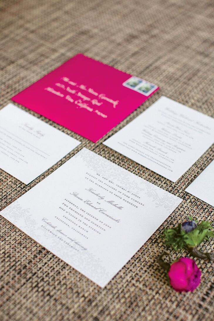 A subtle leaf pattern bordered the top and bottom of the square wedding invitations. The type, a mix of script and Roman lettering, was printed in pomegranate ink.