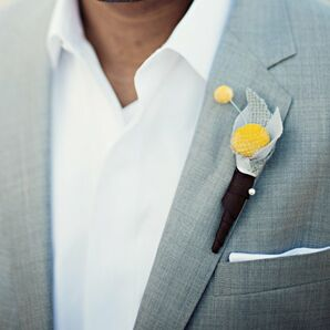 Yellow Billy Ball Boutonniere