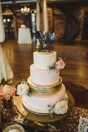 Blush and Gold Glam Wedding Cake