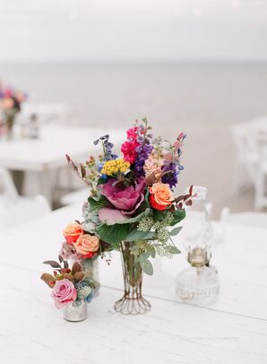 Floral Reception Centerpiece in Vintage Caged Vase