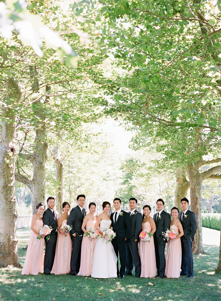 Susan chose a shade of pale pink for her bridesmaids' custom made gowns.