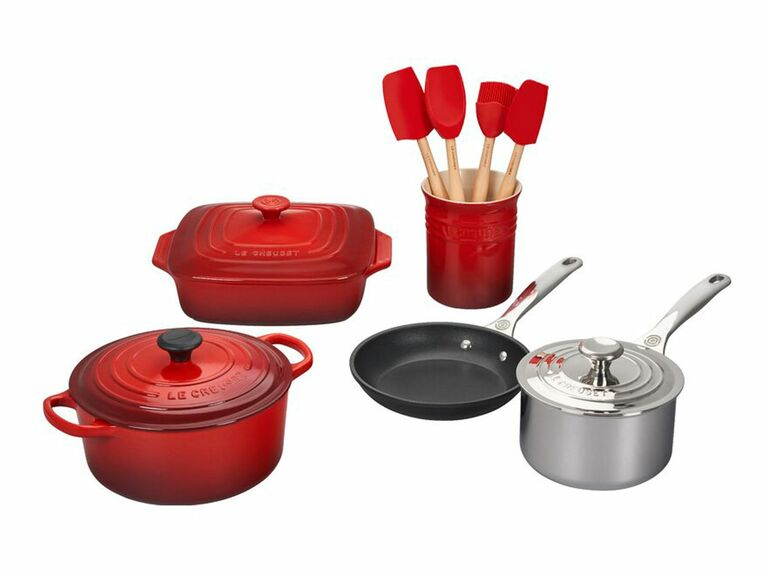 Le Creuset red enameled cast iron cookware and bakeware set